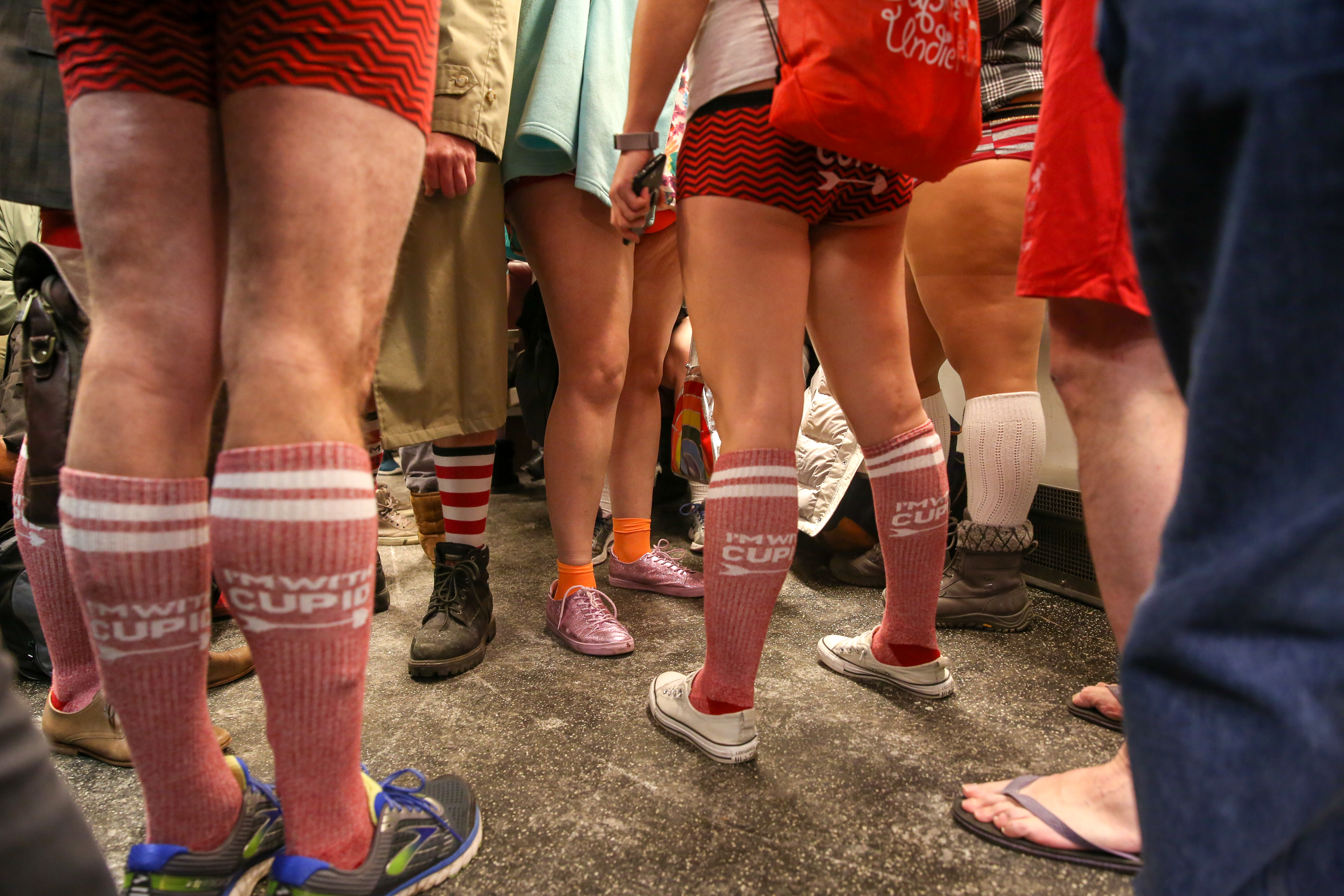 On January 7, brave Washingtonians stripped down for the annual no-pants metro ride.{ }(Amanda Andrade-Rhoades/DC Refined)