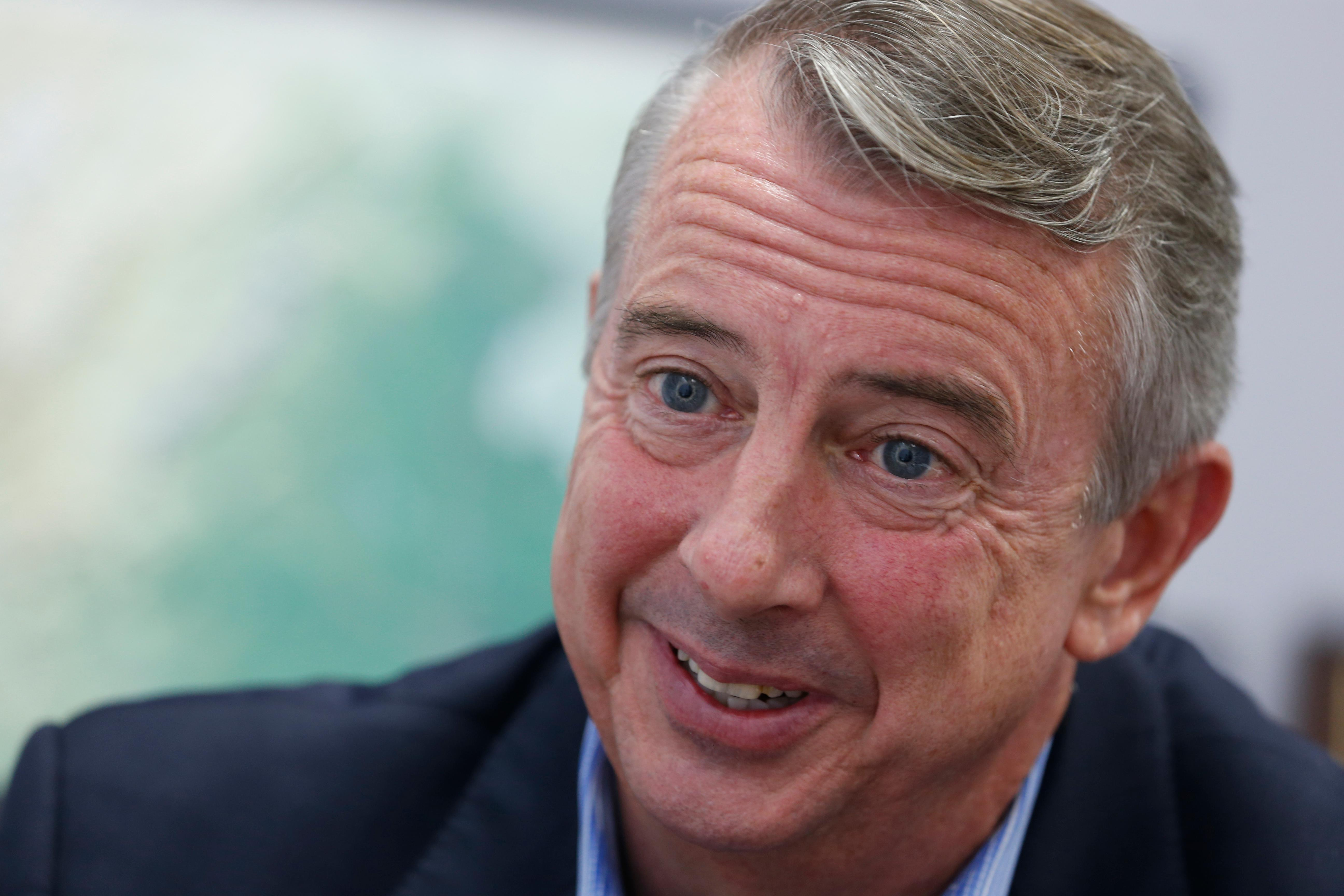 FILE - In this Sept. 26, 2017, file photo, Republican gubernatorial candidate Ed Gillespie, during an interview in Richmond, Va. (AP Photo/Steve Helber, File)<p></p>
