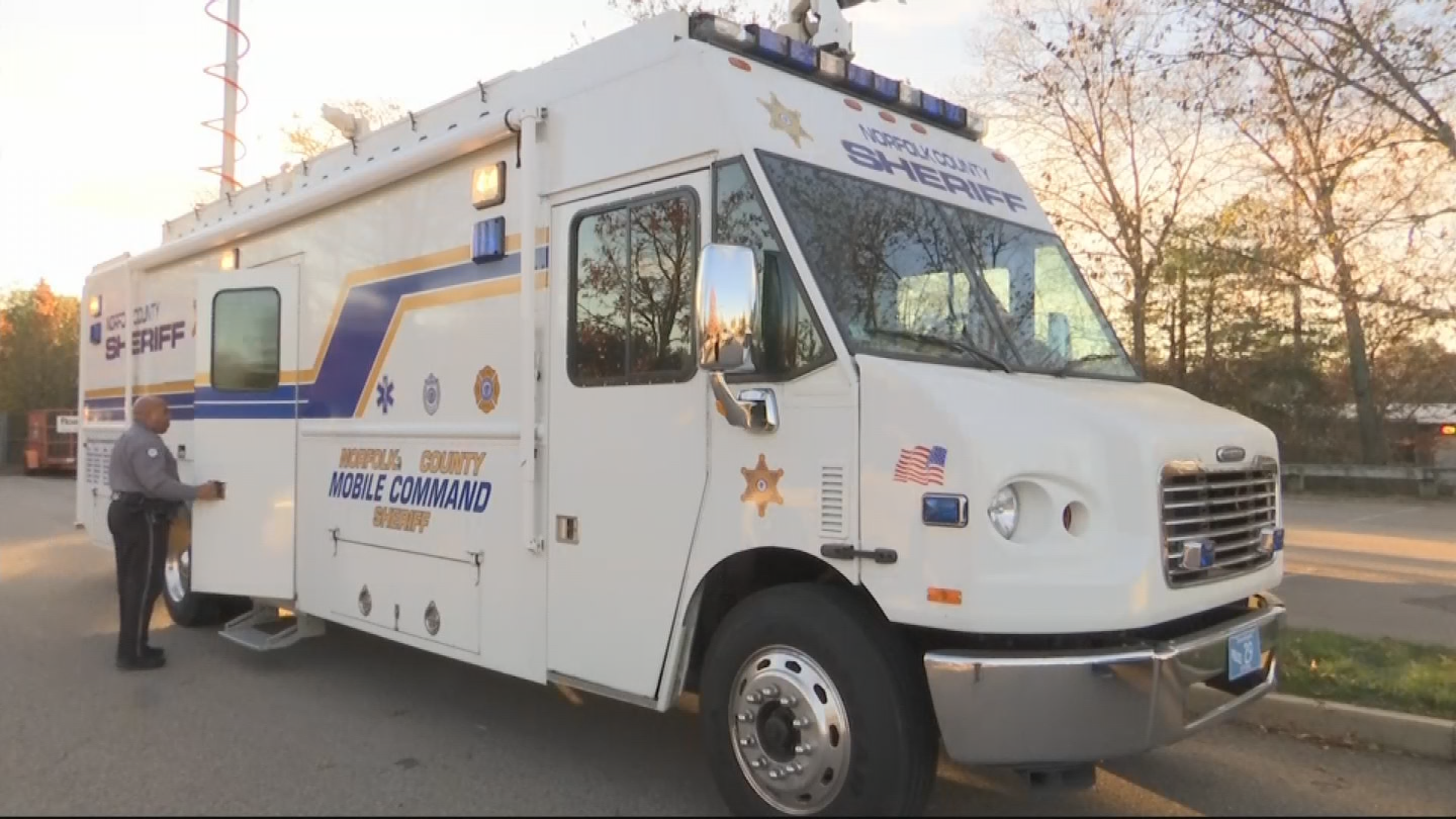 A Norfolk County van was provided to the Wrentham Police Dept. as a command center. (WJAR)<p></p>