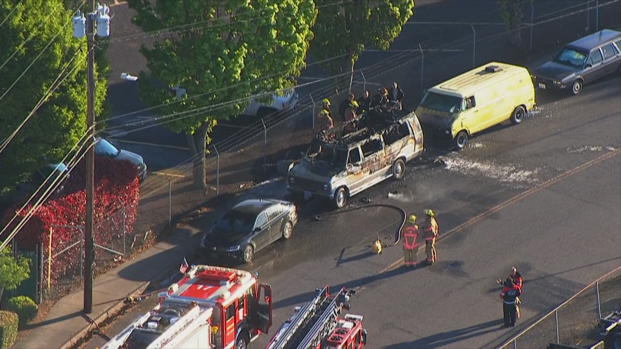 Portland Fire and Rescue found two people dead inside a burning van in North Portland on April 29, 2019. KATU photo{ }