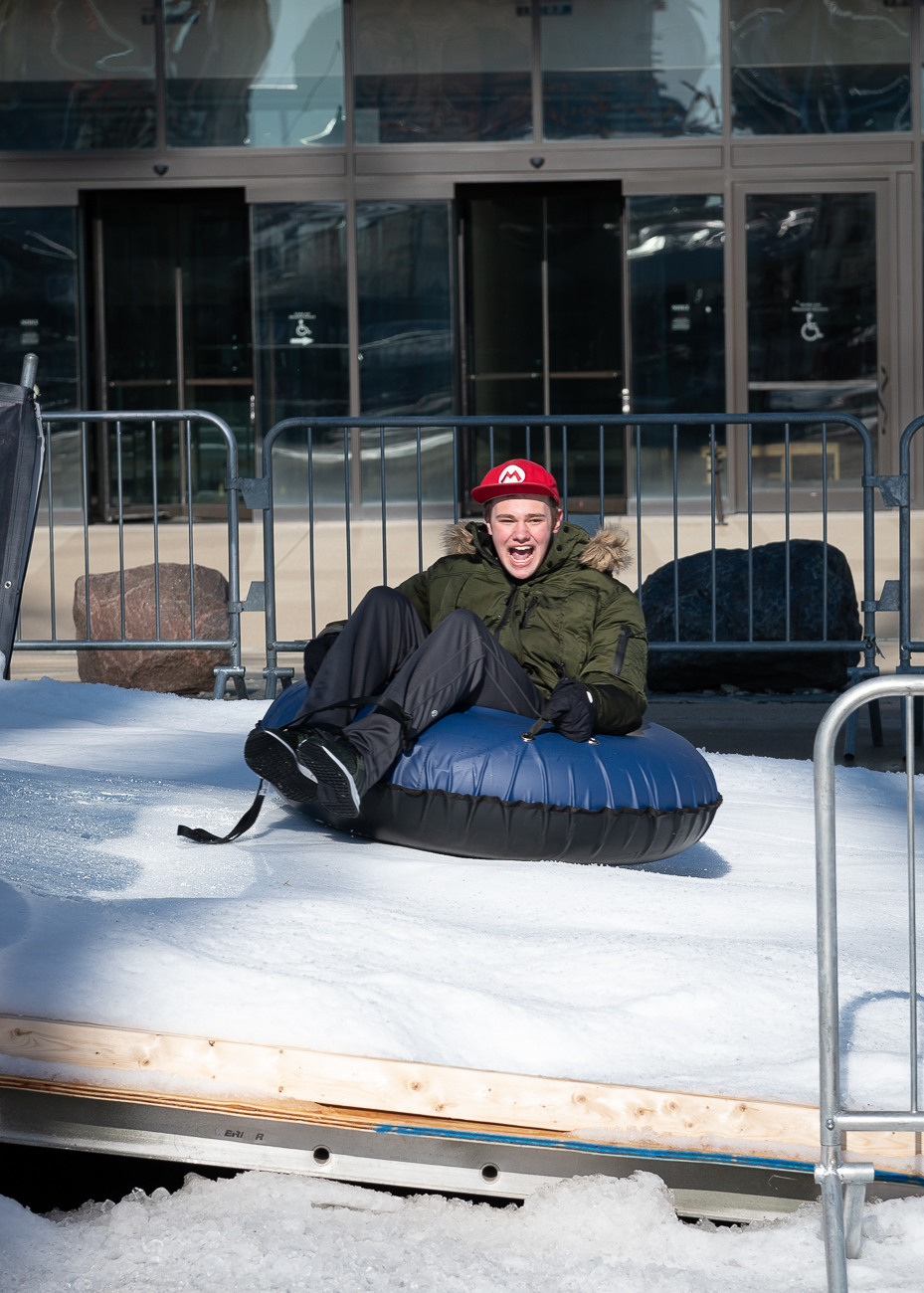 A snow tuber flies down the Frisch's Big Boy Snow Tube Run / Image: Phil Armstrong, Cincinnati Refined // Published: 1.6.20