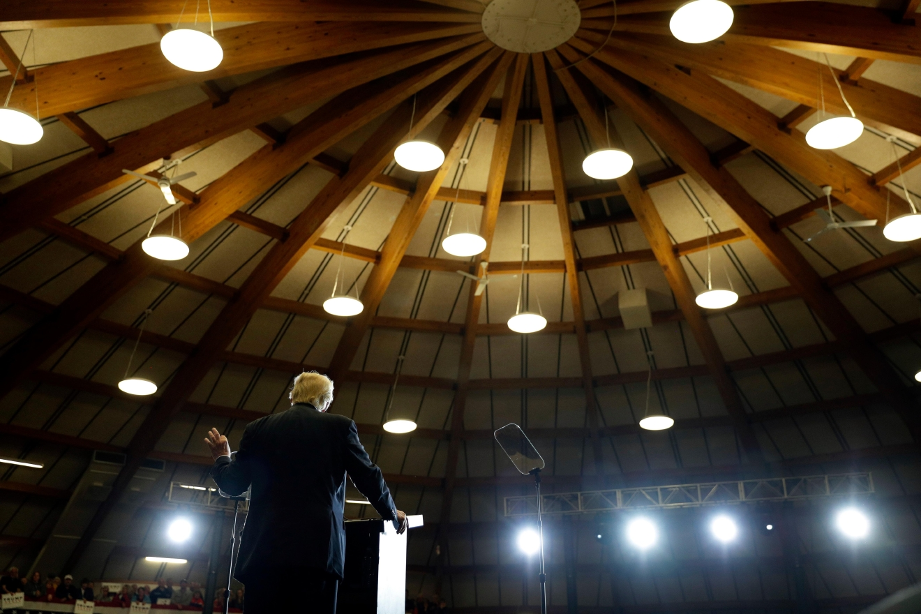 Republican presidential candidate Donald Trump speaks at a rally, Wednesday, Sept. 28, 2016, in Waukesha. (AP Photo/John Locher)