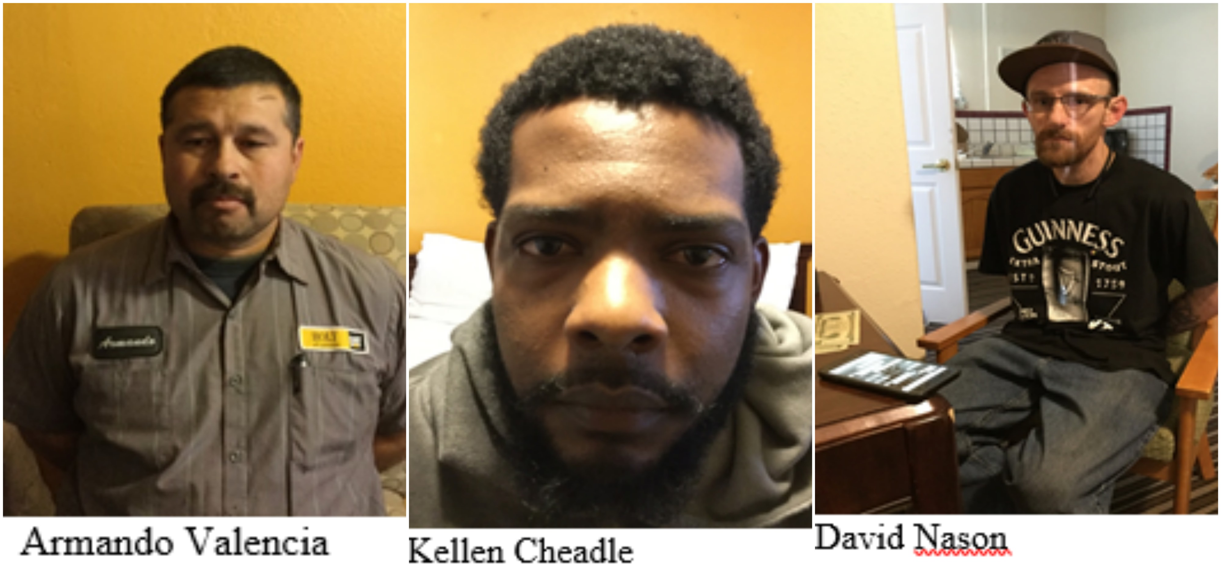 The Merced Police Department has announced that it made several arrests during a 3-day-long human trafficking operation. (Left to Right: Armando Valencia, Kellen Cheadle, David Nason.)