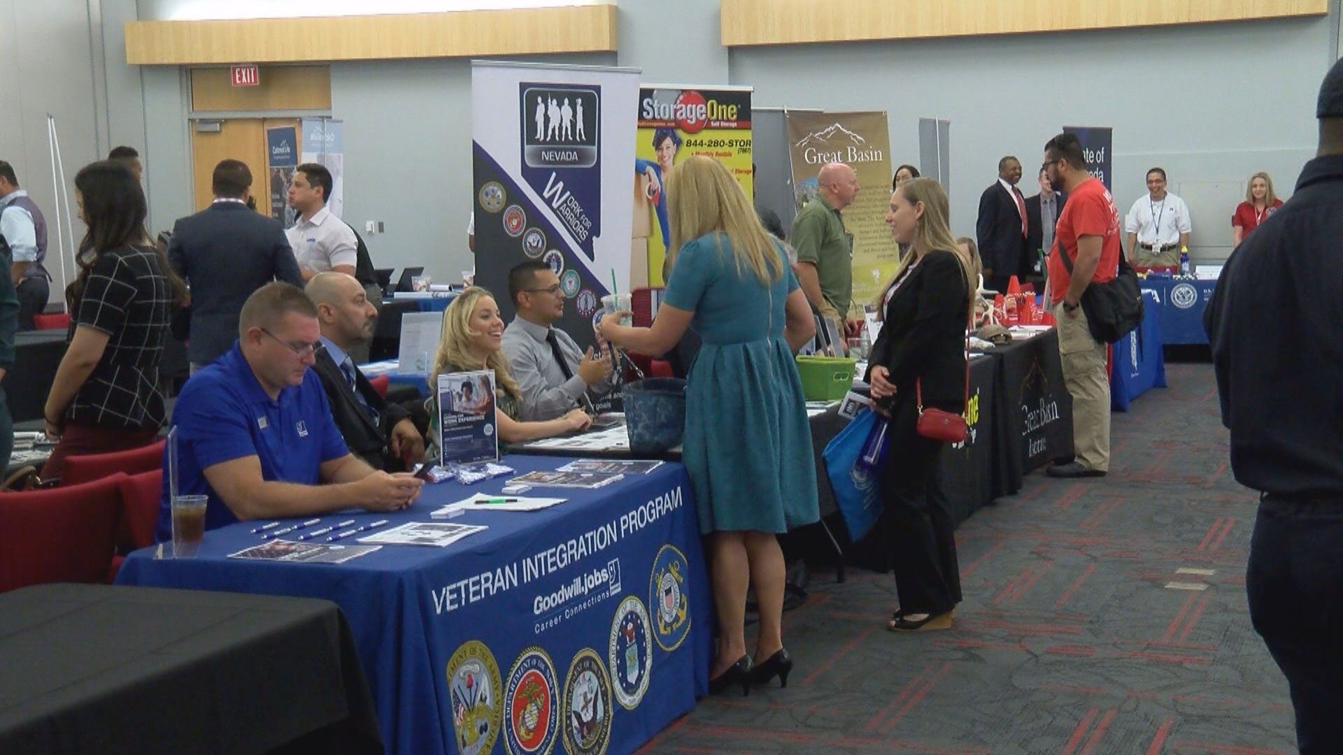 Nevada veterans and their families take part in a career fair and workshops Saturday, July 22, 2017, on the UNLV campus. (Chad Graves/KSNV)