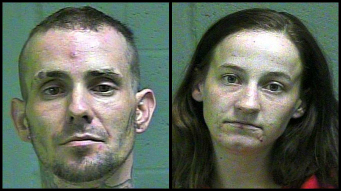 Justin Davis and Rebeca Phillips were both arrested May 15 in Oklahoma City. (Oklahoma County Jail)