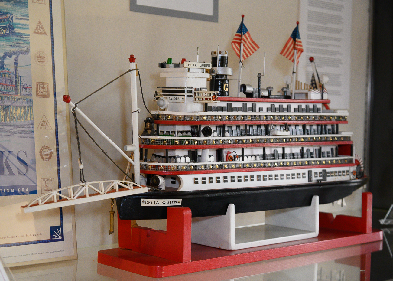 Several steamboat models sit on top of display cases to acknowledge Rising Sun's history as a prosperous river town. / Image: Phil Armstrong, Cincinnati Refined // Published: 1.7.20