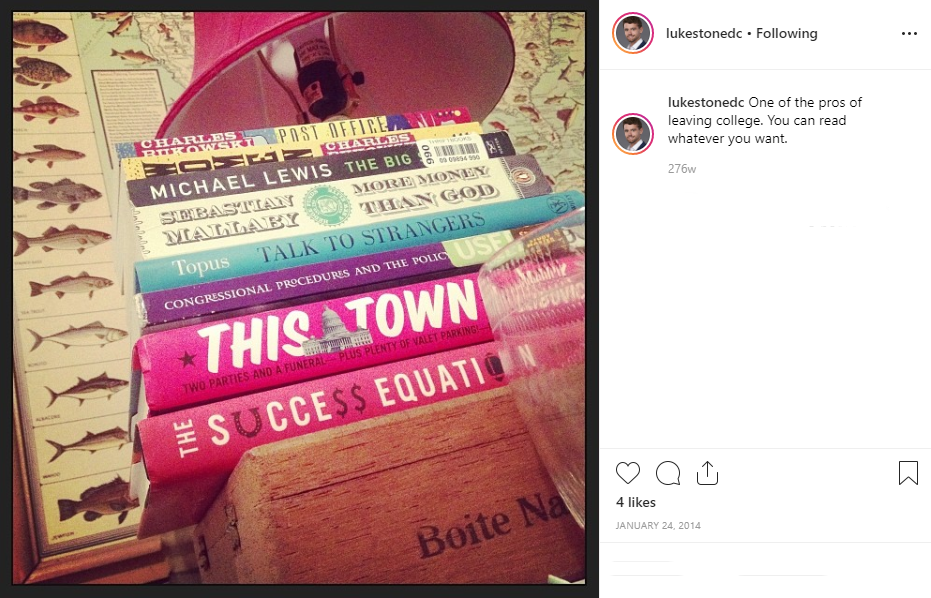 "He reads. And honestly, is he even a Washingtonian if he hasn't posted at least one nightstand pic of ""This Town?"" No, no he is not. (Image: via IG user @lukestonedc)"