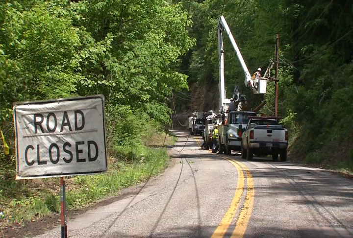 Keystone Drive is closed in Charleston as Appalachian Power crews work to repair utility lines. (WCHS/WVAH)