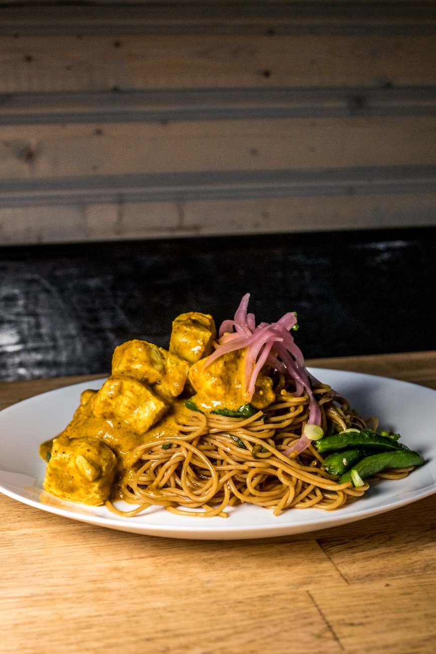 Crispy chicken noodle with green beans and pickled onion / Image: Catherine Viox{ }// Published: 1.15.20