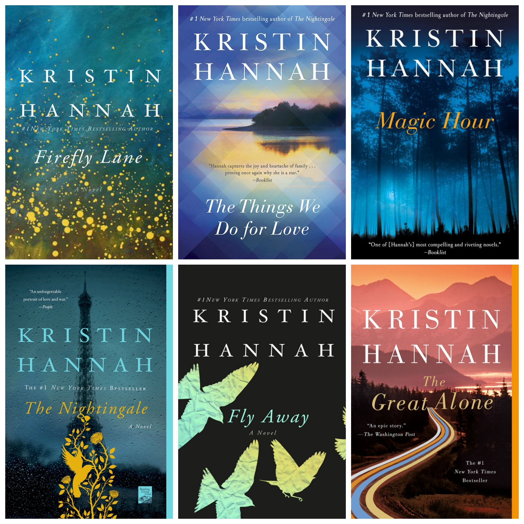 A few of #1 Bestselling Author Kristin Hannah's novels. Hannah lives in the Pacific Northwest (Images: St. Martin's Press)