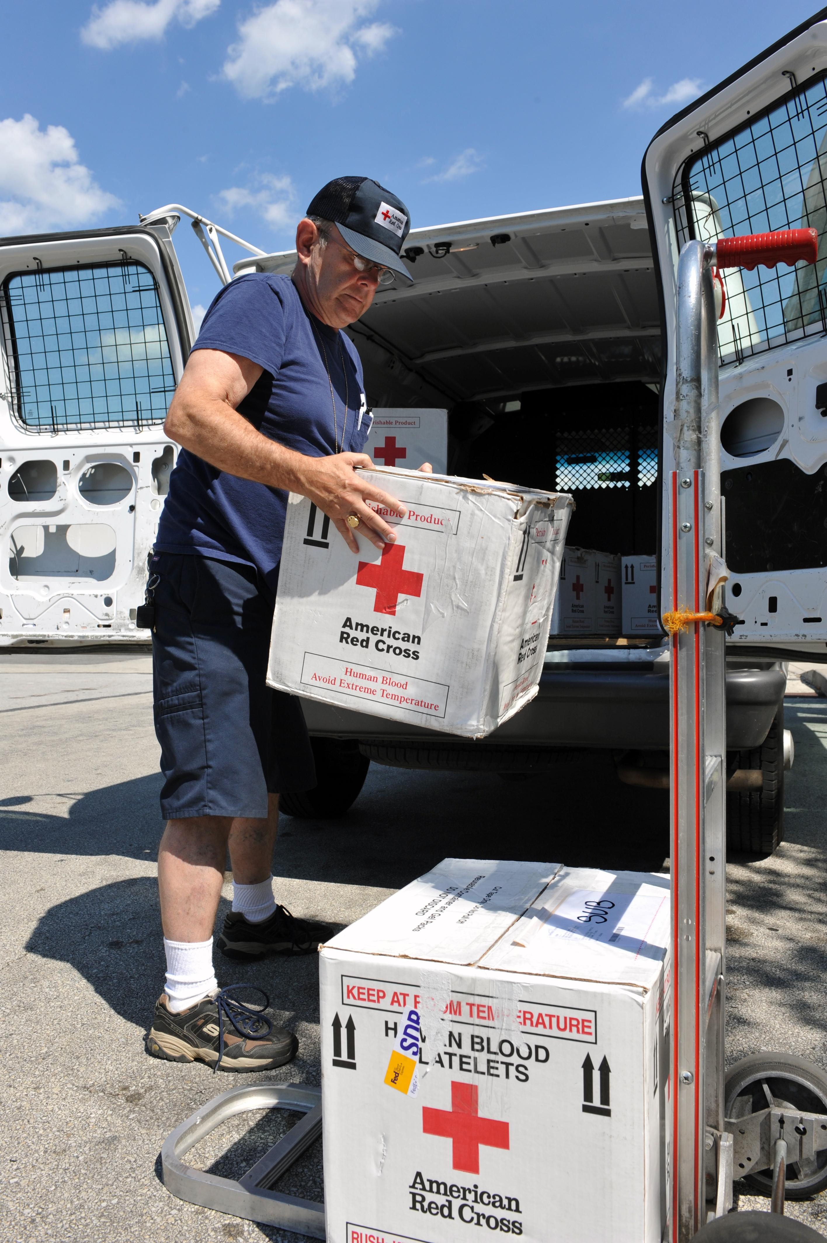 Red Cross driver John McHough prepares to deliver blood to area hospitals.