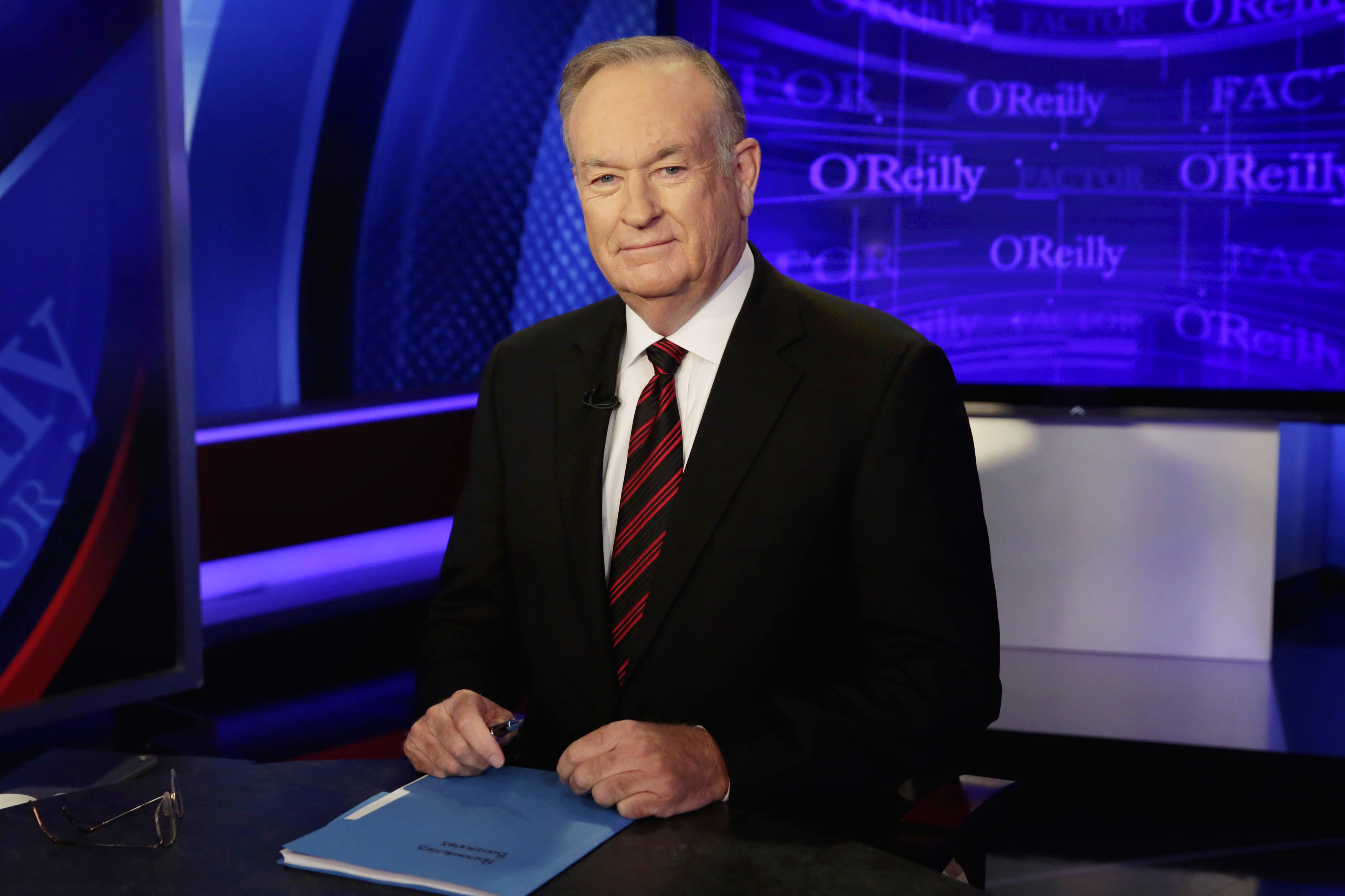 "FILE - In this Oct. 1, 2015 file photo, host Bill O'Reilly of ""The O'Reilly Factor"" on the Fox News Channel, poses for photos in the set in New York. Embattled Fox News Channel host Bill O'Reilly hasn't taken this much time off consecutively in March or April for at least 10 years. O'Reilly says he's off ""The O'Reilly Factor"" until April 24. Cable television's most popular host has seen an advertiser exodus following reports of settlements reached with five women to keep quiet about harassment accusations. (AP Photo/Richard Drew, File)"