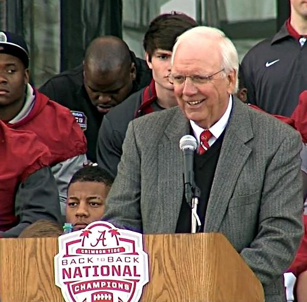 Alabama athletic director Mal Moore called Nick Saban the best coach in the United States during the BCS Championship celebration on Saturday, January 19, 2013.
