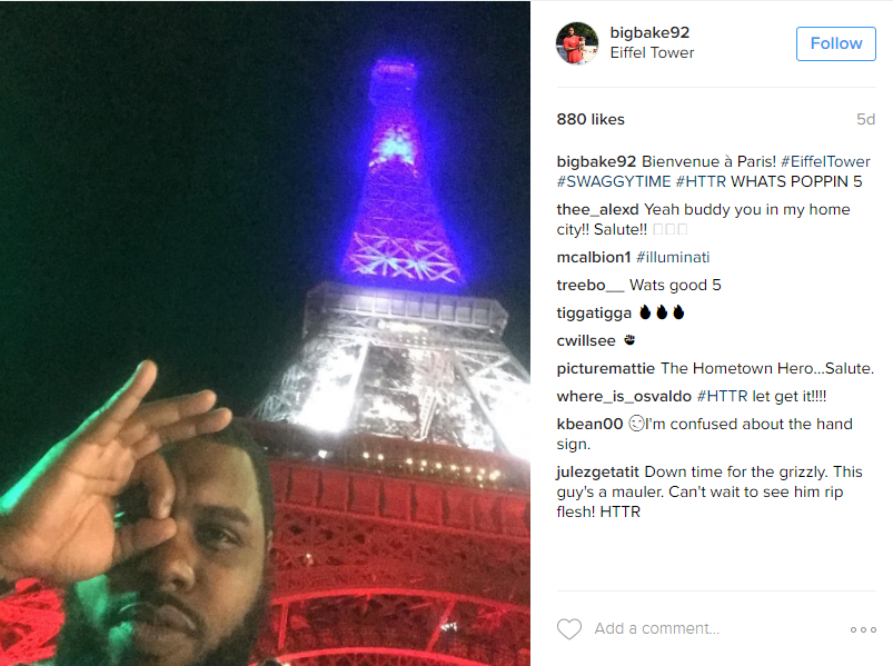 "But he's still managing some down time, as he checked ""Eiffel Tower"" off his bucket list this summer. (Image: @bigbake92 Instagram)"