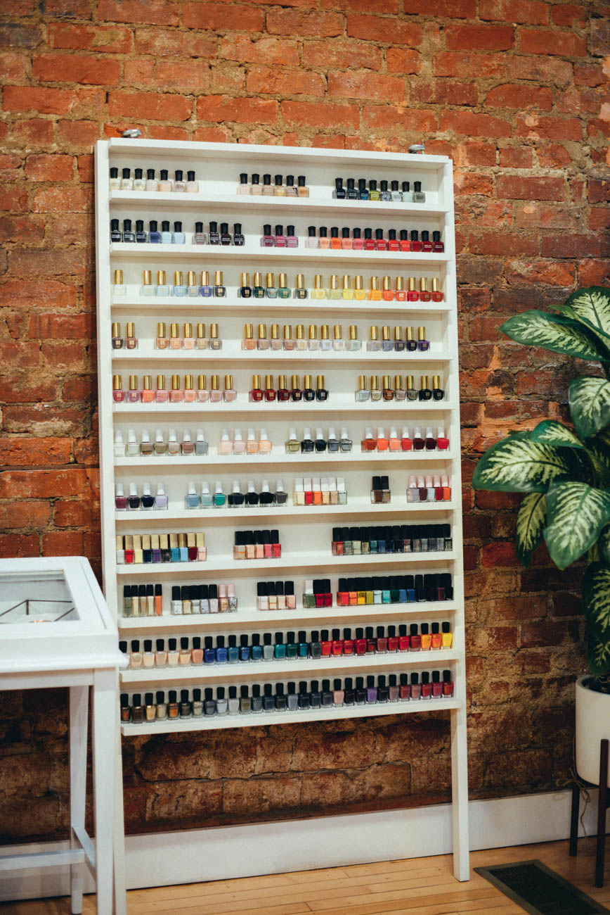 So many people think getting their nails done as an indulgence, but it's an important part of your health as well. First and foremost—foot care is so important. Cutting nails correctly and cleaning the toe nail can prevent toe nails from growing inward while also helping to prevent infection. The foot and leg massage not only feel nice, but it's also helping to improve blood flow, relax tight muscles, and help to reduce inflammation and pain. -Molly Nagle, owner of Spruce. / Image: Sara Green Photography // Published: 3.29.19