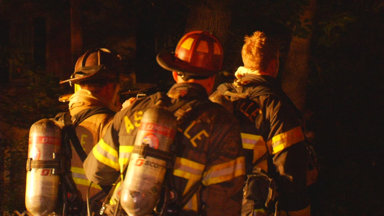 An early morning house fire in North Asheville leaves 11 people without a home. Authorities say the fire broke out just before 2 a.m. at a home on North Liberties Street. (Photo credit: WLOS Staff)